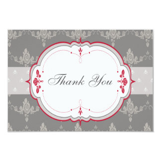 Elegant Grey & Red Roses Wedding Thank You Card
