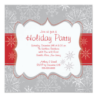 Elegant Grey & Red Snowflakes Holiday Party 5.25x5.25 Square Paper Invitation Card