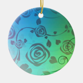 Elegant Grey Rose on light green and blue texture Christmas Tree Ornaments