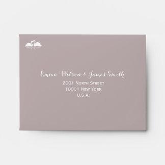 Elegant Grey Wedding RSVP Envelopes A2 Swans