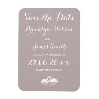 Elegant Grey Wedding Save The Date Magnets Swans