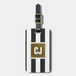 Elegant Grey White Stripes Faux Copper Monogram Luggage Tag