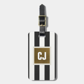 Elegant Grey White Stripes Faux Copper Monogram Luggage Tag