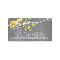 elegant grey yellow string lights address labels