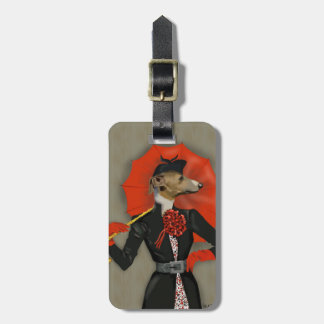 Elegant Greyhound and Red Umbrella Bag Tag
