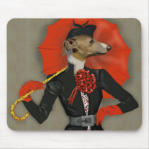 Elegant Greyhound and Red Umbrella Mouse Pad