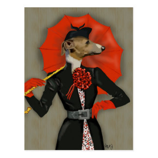 Elegant Greyhound and Red Umbrella Postcard