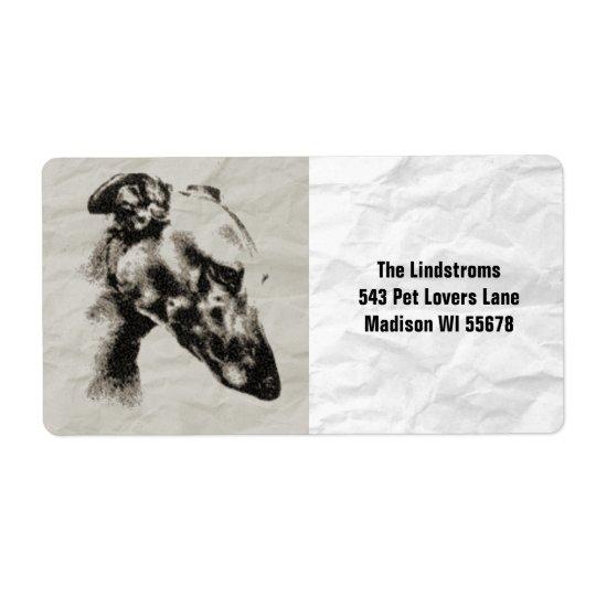 Elegant Greyhound Portrait in Sepia Custom Label