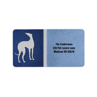 Elegant Greyhound Silhouette in Blue Label