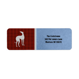 Elegant Greyhound Silhouette in Red White Blue Label
