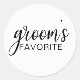 Elegant GROOM's FAVORITE Wedding Gift Favors Classic Round Sticker