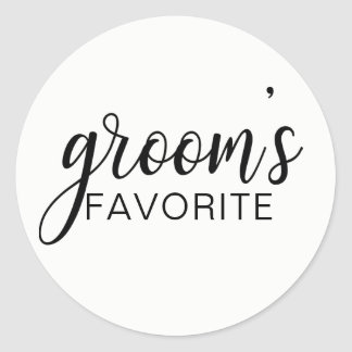 Elegant GROOM's FAVORITE Wedding Gift Favors Classic Round Sticker