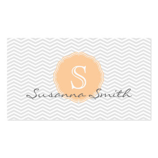 Elegant group with chevrón and monograma orange business cards