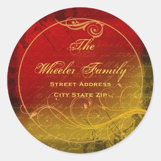 Elegant Grunge Address Label 2 Round Stickers
