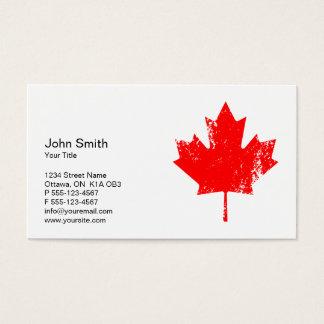 Elegant Grunge Red Canada Maple Leaf Business Card