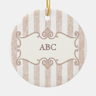 Elegant grunge striped pink ceramic ornament