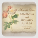 elegant grungy roses save the date stickers