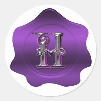 Elegant H Monogram Purple Wax Seal Look Sticker