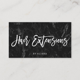 Elegant hair extensions script white black marble business card