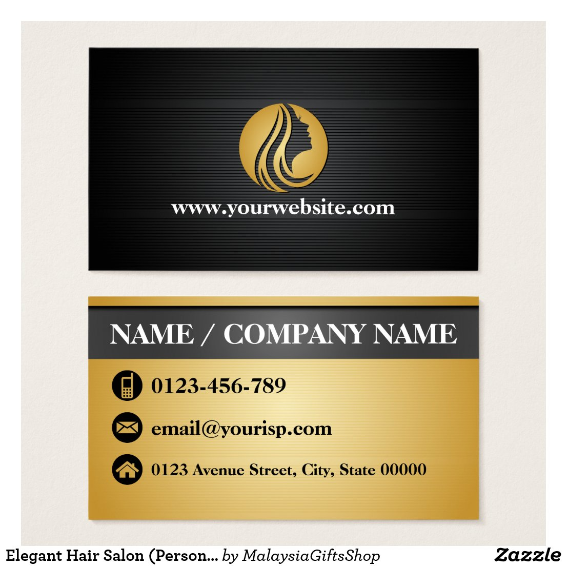 Elegant Hair Salon (Personalize) Business Card