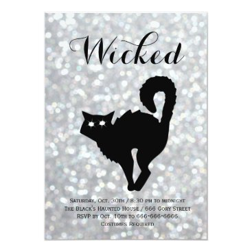 Halloween Themed Elegant Halloween Costume Party - Cat Sparkles Card