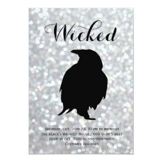 Elegant Halloween Costume Party - Raven Sparkles Card