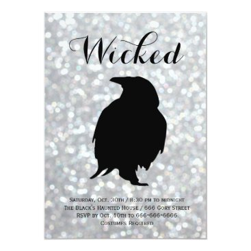 Halloween Themed Elegant Halloween Costume Party - Raven Sparkles Card