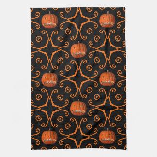 Elegant Halloween jack o lantern kaleidoscope Kitchen Towels