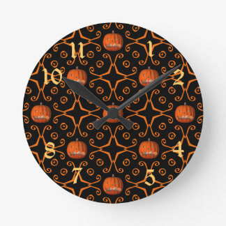 Elegant Halloween jack o lantern kaleidoscope Round Clock