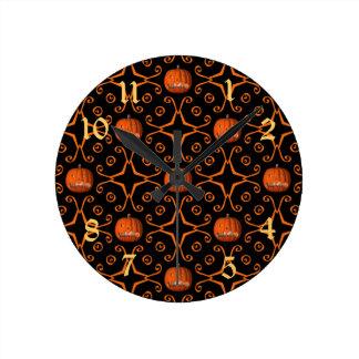 Elegant Halloween jack o lantern kaleidoscope Round Wallclock