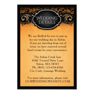 Elegant Halloween Orange & Black Wedding Details Invitation