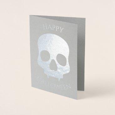 Halloween Themed Elegant Halloween skull glam silver Foil Card