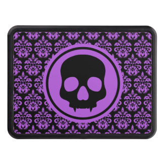 Elegant Halloween skull on damask black and purple Tow Hitch Cover