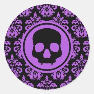 Elegant Halloween skull on damask black and purple Round Sticker
