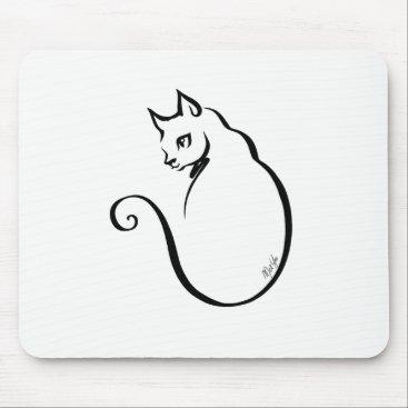 Aztec Themed Elegant Hand Drawn Cat White Mouse Pad