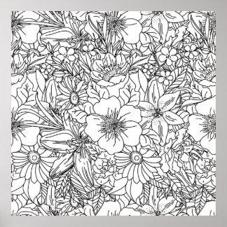 Elegant Hand drawn floral doodles design Poster