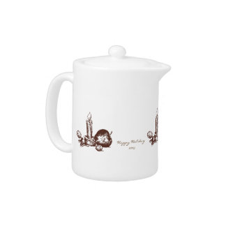 Elegant Hand Drawn Holiday Elements Small Teapot