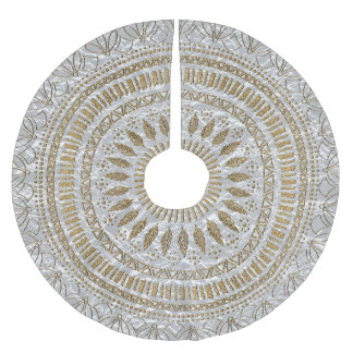 Elegant hand drawn tribal mandala design brushed polyester tree skirt