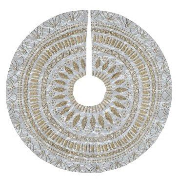 InovArtS Elegant hand drawn tribal mandala design brushed polyester tree skirt
