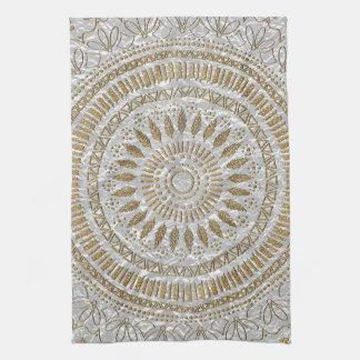 Elegant hand drawn tribal mandala design kitchen towel