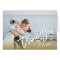 Elegant Hand Lettered Script 2 Photo Thank You