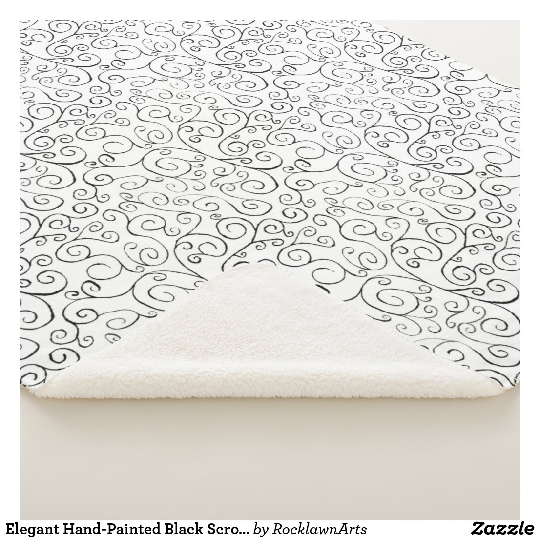 Elegant Hand-Painted Black Scroll Pattern on White Sherpa Blanket