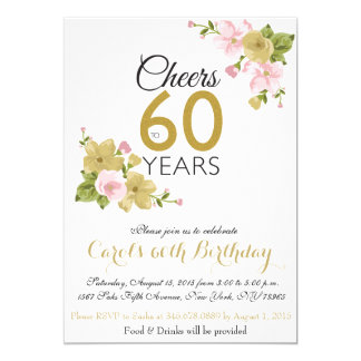 Elegant Hand Painted Flower 60th Birthday Invite