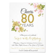 Elegant Hand Painted Flower 80th Birthday Invite