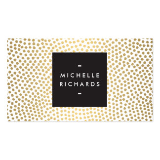 Elegant Hand-Painted Gold Polka Dots Business Card