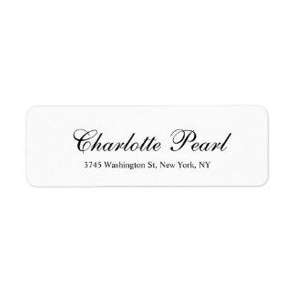 Elegant Handwriting Classical Plain Black & White Label