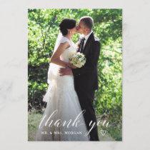 Elegant Handwriting Wedding Photo Thank You