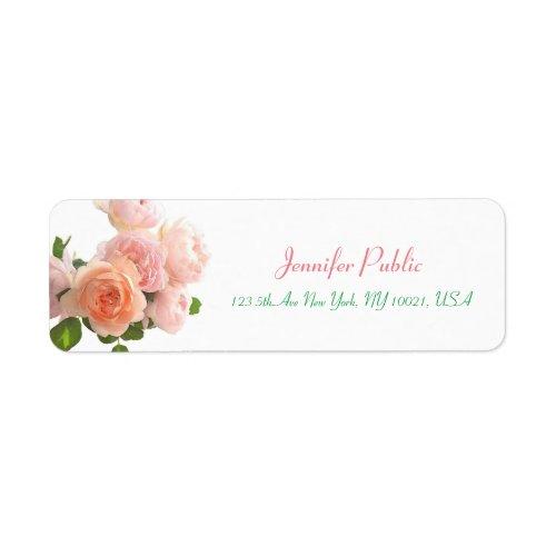 Elegant Handwritten Template Watercolor Roses Chic Label