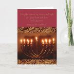 "elegant Hanukkah greeting card<br><div class=""desc"">This is a beautiful Hanukkah greeting card that has a wonderful menorah,  and golden star of David.</div>"