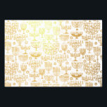 "Elegant Hanukkah Menorah Pattern Foil Wrapping Paper Sheets<br><div class=""desc"">This elegant Hanukkah wrapping paper features a pattern of menorah on white. Use as gift wrap or in craft projects inclusing decoupage. Designed by world renowned artist Tim Coffey.</div>"